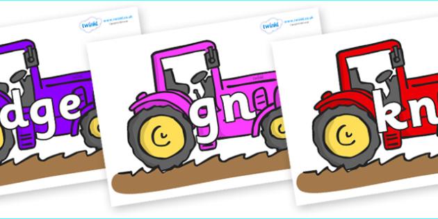 Silent Letters on Tractors - Silent Letters, silent letter, letter blend, consonant, consonants, digraph, trigraph, A-Z letters, literacy, alphabet, letters, alternative sounds