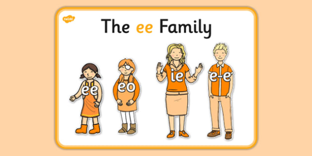 Ee Sound Family Cut Outs - sound families, sounds, cutouts, cut