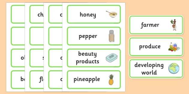 Fairtrade Word Cards - visual aid, keywords, fair trade, food
