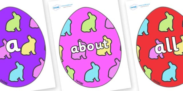 100 High Frequency Words on Easter Eggs (Rabbits) - High frequency words, hfw, DfES Letters and Sounds, Letters and Sounds, display words