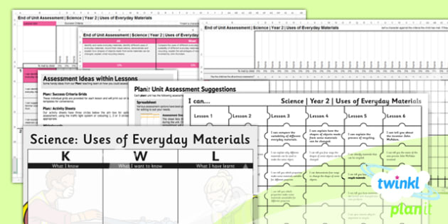 PlanIt - Science Year 2 - Uses of Everyday Materials Unit Assessment Pack - everyday, materials, science, ks1, 2014, curriculum, planning, assessment