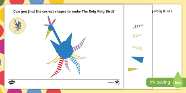 Bird Shape Activity Sheet Pack to Support Teaching on The Enormous Crocodile - The Roly Poly Bird, The Enormous Crocodile, Roald Dahl, worksheet