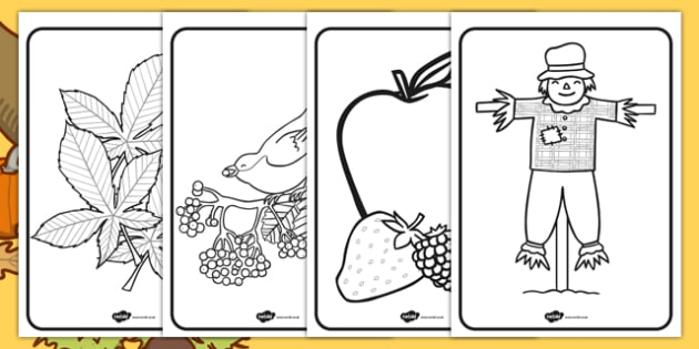 Harvest Themed Colouring Pages - seasons, weather, autumn, colour