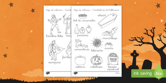 Halloween Hojas de colorear de vocabulario