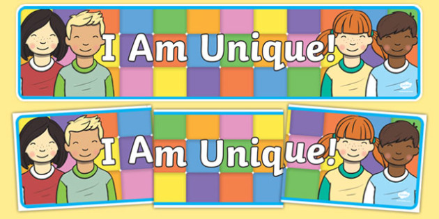 I Am Unique Themed Display Banner to Support Teaching on Elmer - I Am Unique, Elmer, I Am Unique Banner, I Am Unique Elmer Banner, Elmer Banner, Elmer Display Banner