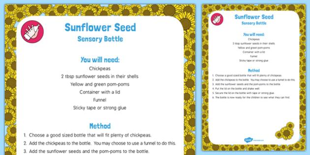 Sunflower Seed Sensory Bottle