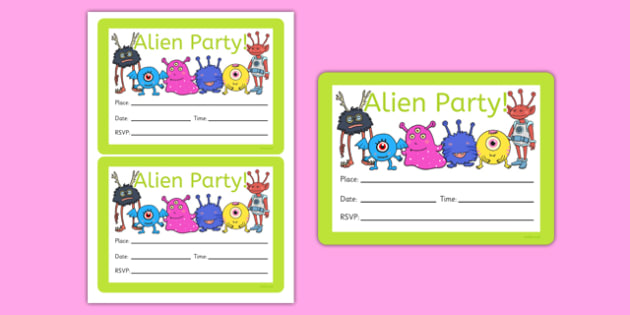 Alien Party Invitations - alien, party invitations, party, invitations, birthday, space