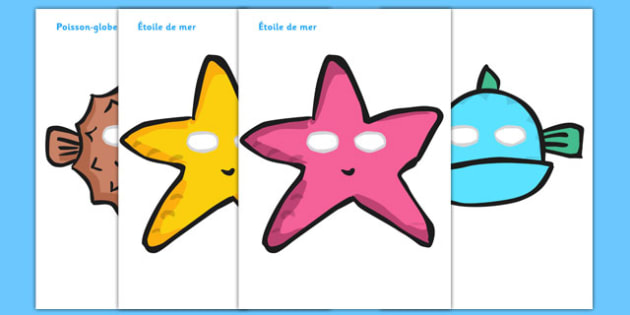 Under the Sea Role Play Masks French - french, under the sea, role play, masks, roleplay, sea