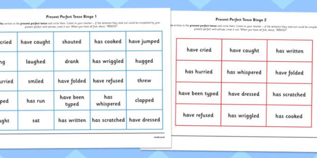 Present Perfect Tense Bingo - tense, game, bingo, present, perfect