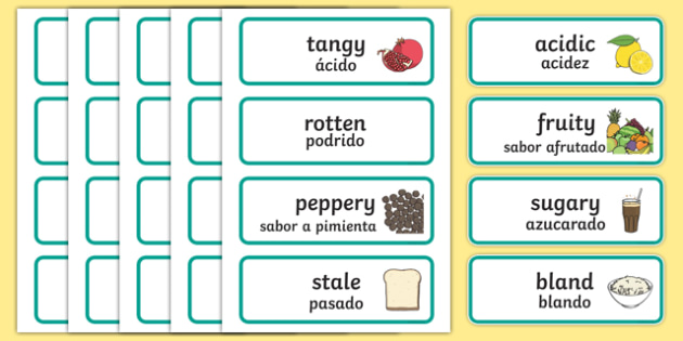 Taste Word Cards Spanish Translation