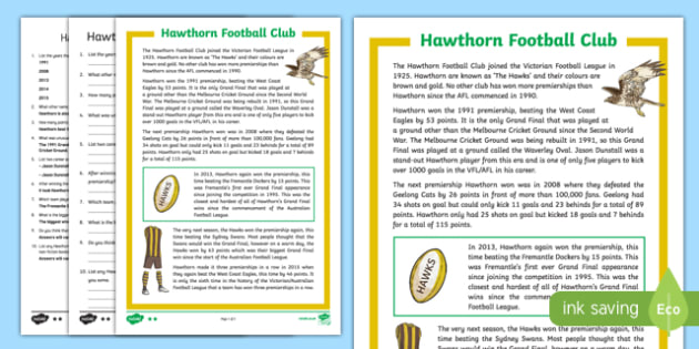 Hawthorn Football Club Differentiated Comprehension Challenge Sheet-Australia