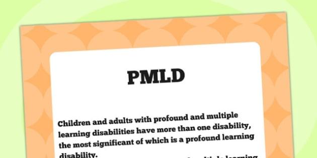 PMLD Definition Display Poster - PMLD, SEN, special needs, poster
