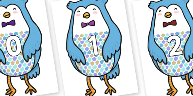 Numbers 0-100 on Owl - 0-100, foundation stage numeracy, Number recognition, Number flashcards, counting, number frieze, Display numbers, number posters