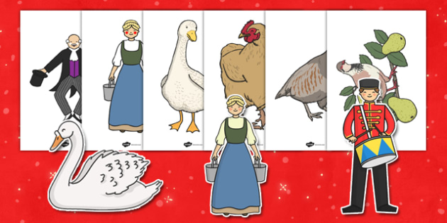 Twelve Days of Christmas Display Image Cut-Outs - Twelve Days of Christmas, xmas, story, song, patridge, french hen, lord leaping, maid milking, turtle dove, gold ring, tree, advent, nativity, santa, father christmas, Jesus, tree, stocking, present,