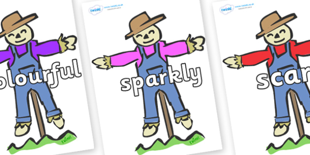 Wow Words on Scarecrows - Wow words, adjectives, VCOP, describing, Wow, display, poster, wow display, tasty, scary, ugly, beautiful, colourful sharp, bouncy