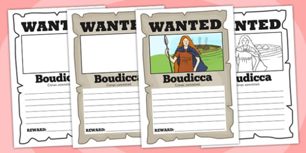 Boudicca Wanted Poster Template - boudicca, poster, template
