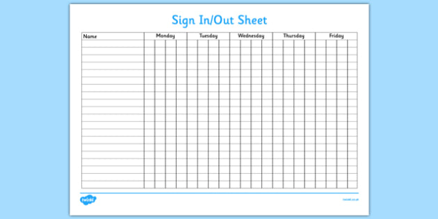 Sign In and Out Sheet - sign in, sign out, sign, sheet, record, attendance