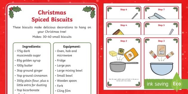 Christmas Spiced Biscuits Recipe Cards - Food, Cooking, Biscuit