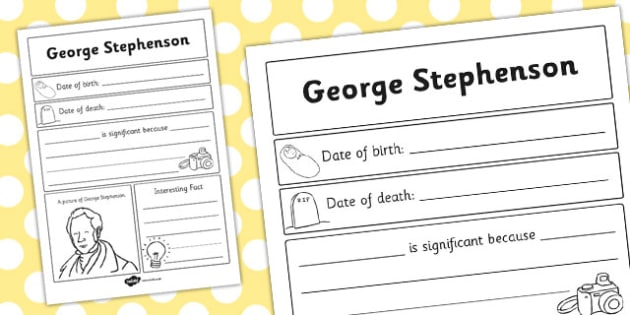 George Stephenson Significant Individual Writing Frame - writing