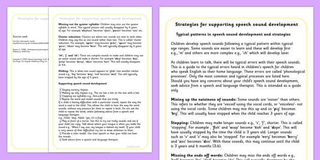 Strategies For Supporting Speech Sound Development - SEN, speech