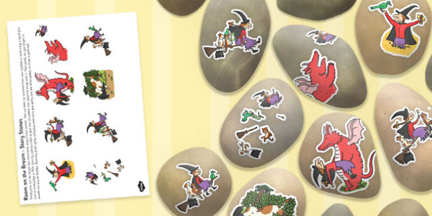 Story Stone Image Cut Outs to Support Teaching on Room on the Broom - room on the broom, story stone