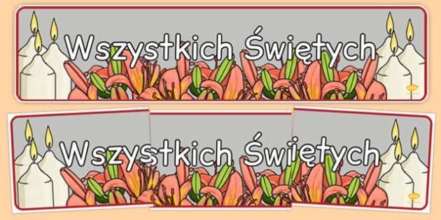 Banner na gazetkę ścienną Wszystkich Świętych po polsku - święta