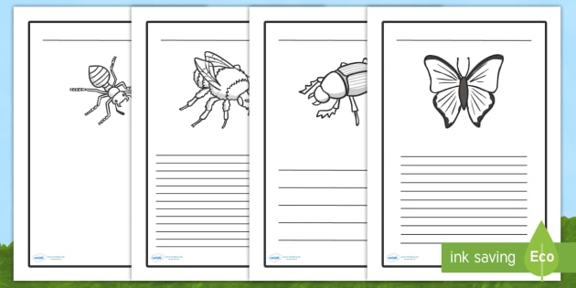 Minibeasts Writing Frame - minibeasts, writing frame, page border, writing template, lined pages, writing aid, bugs, insects, living things, investigation, bee, snail, ladybird, butterfly, caterpillar, spider, work sheet, worksheet, filling in