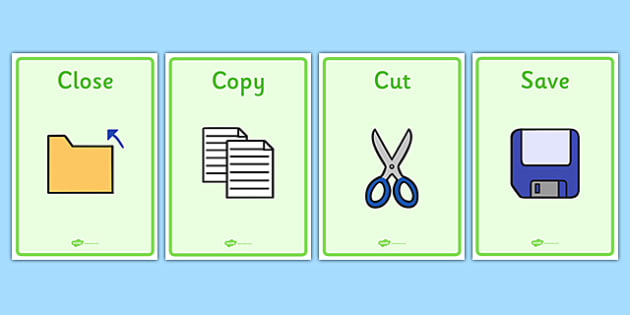 Important Computer Icons Display Posters - important computer icons display posters, computer, icons, important, display, poster, sign, close, copy, cut, save, save as, new, open