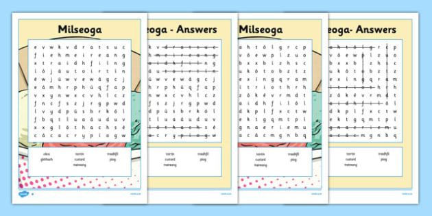 Bia Word Search Milseoga - irish, gaeilge, bia, food, word search, activity, food types, vocabulary