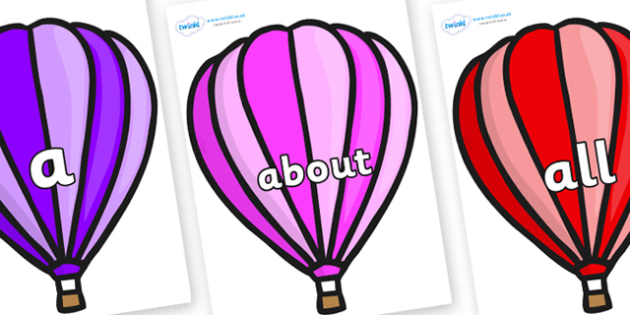 100 High Frequency Words on Hot Air Balloons (Stripes) - High frequency words, hfw, DfES Letters and Sounds, Letters and Sounds, display words