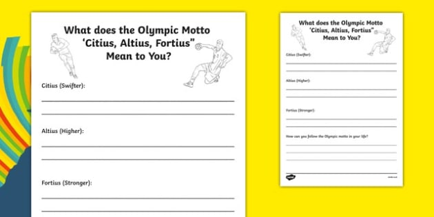 What Does the Olympic Motto Mean to You? Writing Activity Sheet, worksheet