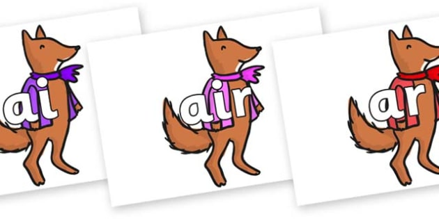 Phase 3 Phonemes on Small Fox 4 to Support Teaching on Fantastic Mr Fox - Phonemes, phoneme, Phase 3, Phase three, Foundation, Literacy, Letters and Sounds, DfES, display