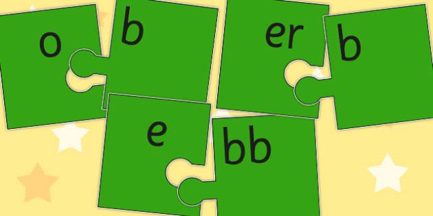 Vowel and Final B Jigsaw Cut Outs - final, b, jigsaw, vowel