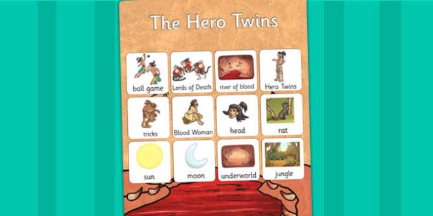 The Hero Twins Mayan Civilization Story Vocabulary Mat - mayans