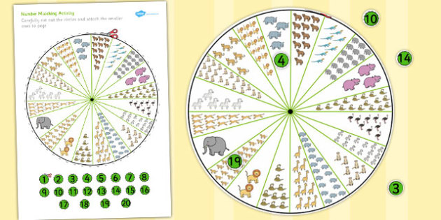 Number Matching Pegs to 20 Safari Themed - match, numbers, game