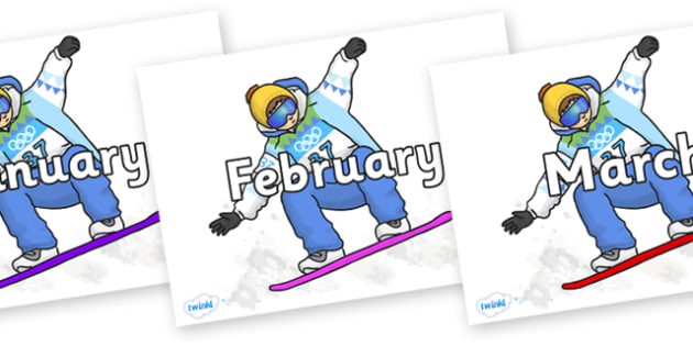 Months of the Year on Snowboarding - Months of the Year, Months poster, Months display, display, poster, frieze, Months, month, January, February, March, April, May, June, July, August, September