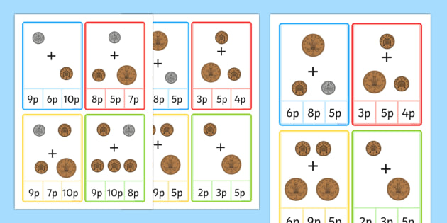 Illustrated Coin Peg Cards Within 10 - illustrated, coin, peg cards, peg, cards, within 10