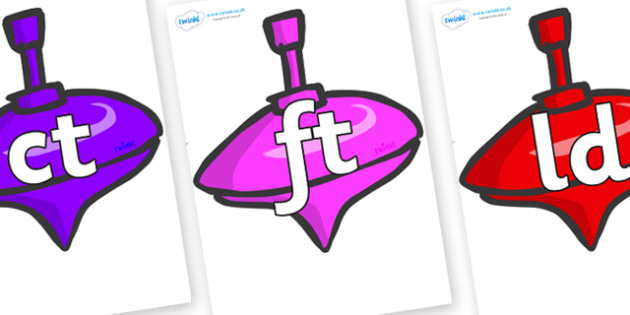 Final Letter Blends on Spinning Tops - Final Letters, final letter, letter blend, letter blends, consonant, consonants, digraph, trigraph, literacy, alphabet, letters, foundation stage literacy