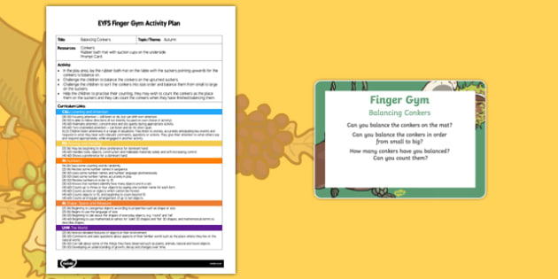EYFS Balancing Conkers Finger Gym Plan and Prompt Card Pack