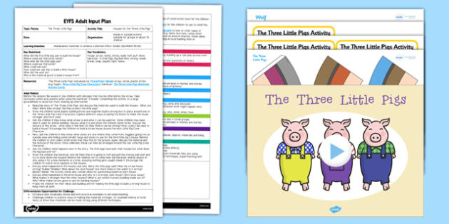 EYFS Houses for the Three Little Pigs Adult Input Plan and Resource Pack - EYFS, Early Years planning, adult led, traditional tales, fairytales, materials, Expressive Arts and Design