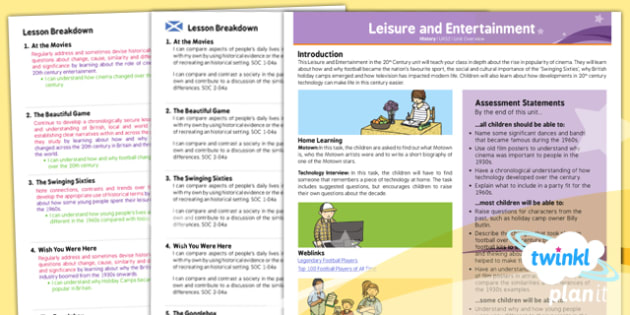 PlanIt - History UKS2 - Leisure and Entertainment Planning Overview CfE - Planit, CfE, history, football, cinema, technology, Sixties, holiday camps
