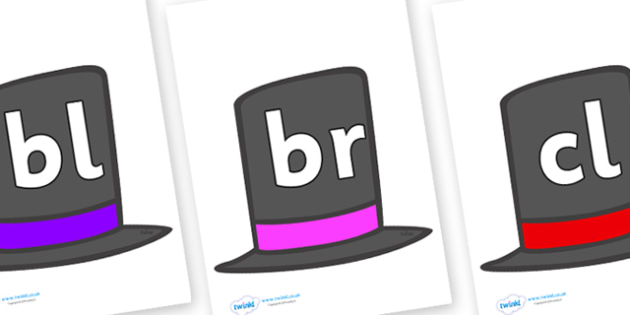 Initial Letter Blends on Top Hats - Initial Letters, initial letter, letter blend, letter blends, consonant, consonants, digraph, trigraph, literacy, alphabet, letters, foundation stage literacy