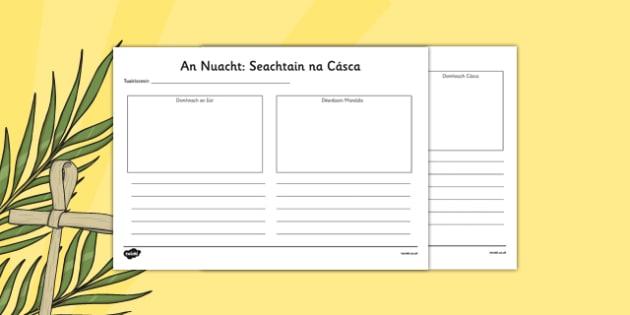 Irish Gaeilge Easter Week Gazette Writing and Drawing Template - Easter, writing, template, drawing, last supper, Gaeilge, Irish