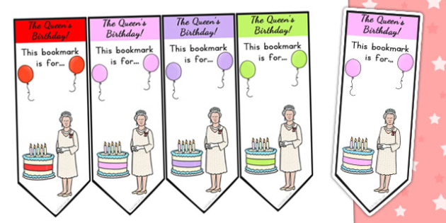 Queen's Birthday Bookmarks - royal family, queen elizabeth, books