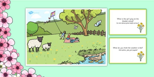 Spring Park Scene and Question Cards Polish Translation - polish, spring, spring park, questions, comprehension pack