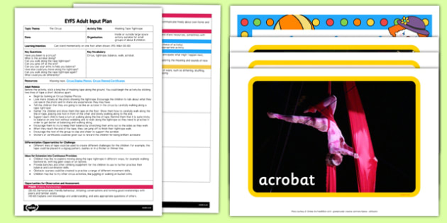EYFS Masking Tape Tightrope Adult Input Plan and Resource Pack - EYFS, Early Years planning, adult led, circus, PD, Physical Development.