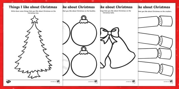 Things I Like About Christmas Worksheets - christmas, like, sheet