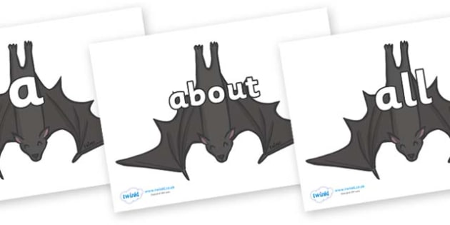 100 High Frequency Words on Bats - High frequency words, hfw, DfES Letters and Sounds, Letters and Sounds, display words