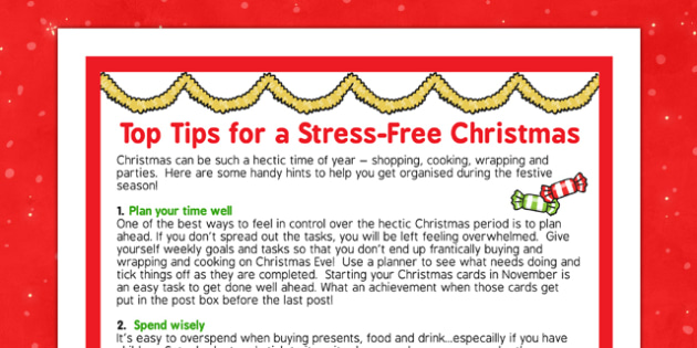 Top Tips for a Stress-Free Christmas - top tips, stress free, christmas