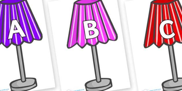 A-Z Alphabet on Lamps - A-Z, A4, display, Alphabet frieze, Display letters, Letter posters, A-Z letters, Alphabet flashcards